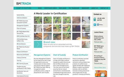 Screenshot of Home Page Site Map Page bmtrada.com - BM TRADA - captured Oct. 4, 2014
