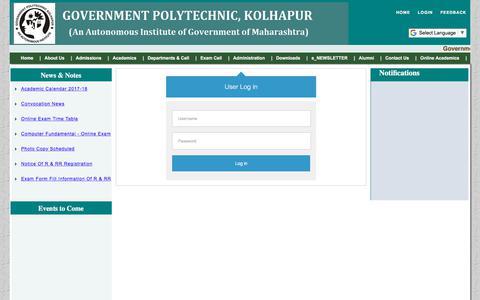 Screenshot of Login Page gpkolhapur.org.in - Government Polytechnic, Kolhapur - captured Feb. 8, 2018