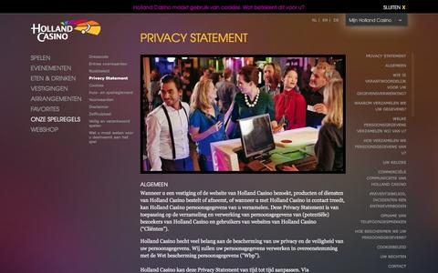 Screenshot of Privacy Page hollandcasino.nl - Privacy statement | Holland Casino - captured Dec. 11, 2015