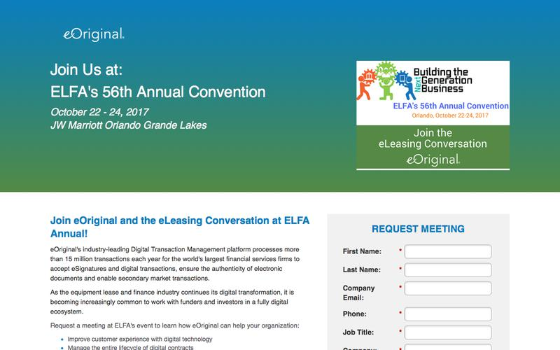 Join eOriginal at 56th Annual ELFA Convention