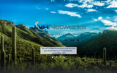 Screenshot of Home Page jnrnet.com - JNR Networks » Solutions You Can Trust - captured Sept. 16, 2015