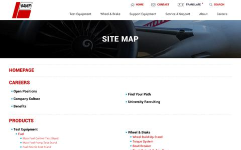 Screenshot of Site Map Page bauerct.com - Site Map - captured Oct. 5, 2018