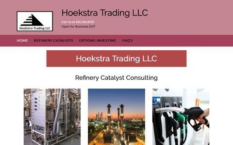 Screenshot of Home Page hoekstratrading.com - Hoekstra Trading LLC | Open-Market Catalyst Testing Programs - captured Sept. 29, 2018