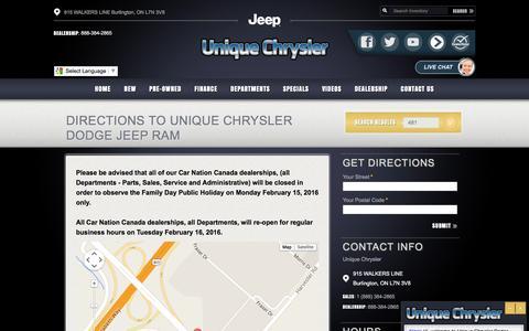 Screenshot of Maps & Directions Page uniquechrysler.com - Unique Chrysler | New Chrysler, Dodge, Jeep, Ram dealership in Burlington, ON L7N 3V8 - captured Feb. 13, 2016