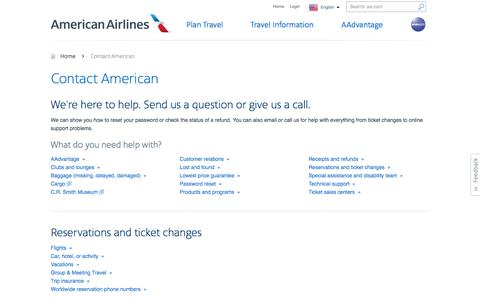 Screenshot of Contact Page aa.com - Contact American – Customer Service – American Airlines - captured April 17, 2016