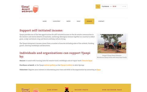 Screenshot of Support Page tjanpi.com.au - Donate | Tjanpi Desert Weavers - captured Dec. 6, 2016