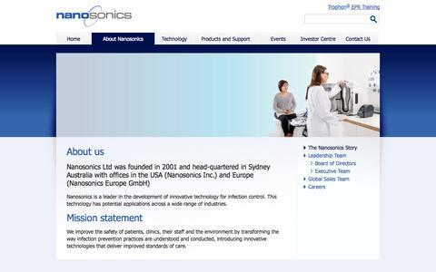 Screenshot of About Page nanosonics.com.au - About Nanosonics - captured Oct. 7, 2014