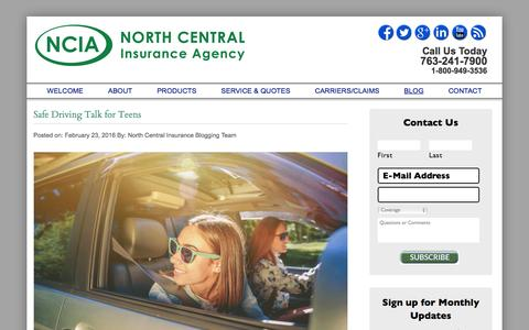 Screenshot of Blog northcentralinsurance.com - BLOG | North Central Insurance Agency - captured Feb. 25, 2016