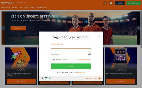 Screenshot of Login Page betsson.com - Betsson: Online Casino, Live Casino & Sportsbetting - captured July 22, 2019