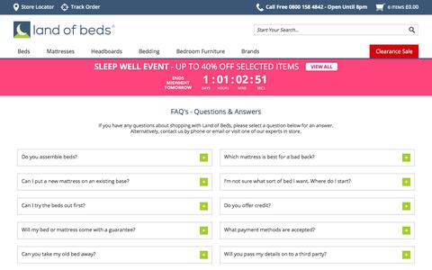 Screenshot of FAQ Page landofbeds.co.uk - Land of Beds - About Us - captured May 21, 2018