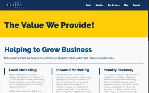 Screenshot of Services Page modblu.com - The Value We Provide | Our Services | Modblu Media - captured Feb. 25, 2016