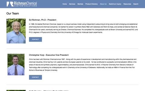 Screenshot of Team Page richmanchemical.com - Our Team — Richman Chemical Inc. | Custom Synthesis | Toll Manufacturing | Raw Material Sourcing - captured Oct. 26, 2014