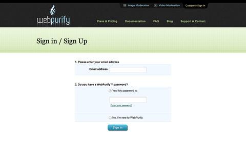Screenshot of Signup Page webpurify.com - WebPurify™ Profanity Filter | Sign up - captured Sept. 26, 2014