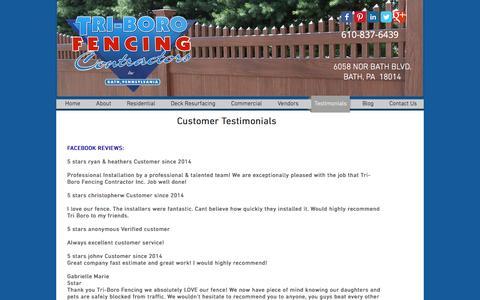 Screenshot of Testimonials Page tri-borofencing.com - Tri-Boro Fencing Contractors | Dumpster Services - Lehigh Valley, - captured Dec. 16, 2016