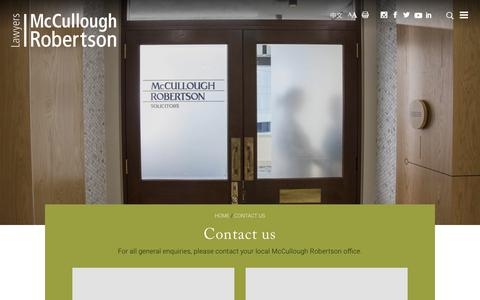 Screenshot of Contact Page mccullough.com.au - Contact Us - McCullough Robertson Lawyers - captured June 22, 2019