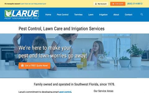 Screenshot of Home Page laruepest.com - Larue Pest Management, Inc. says... - captured Sept. 27, 2018
