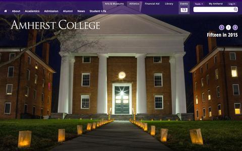 Screenshot of Home Page amherst.edu - Amherst College - captured Jan. 13, 2016