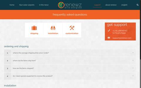 Screenshot of FAQ Page renewz.com - frequently asked questions | renewz - captured Nov. 30, 2016