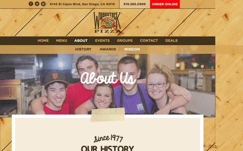 Screenshot of About Page woodstockssd.com - About Woodstock's Pizza | Best Pizza in College Area | 92115 - captured March 13, 2016