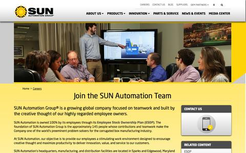Screenshot of Jobs Page sunautomation.com - Careers at SUN Automation - captured Oct. 3, 2014