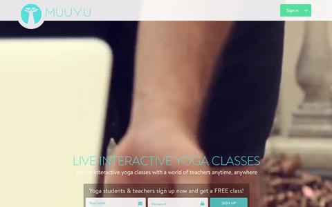 Screenshot of Home Page muuyu.com - Muuyu : Live Online Yoga Classes - captured Jan. 3, 2016