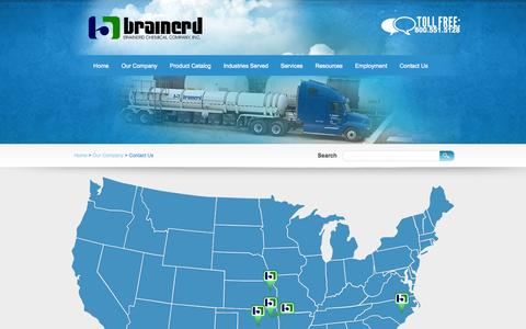 Screenshot of Contact Page Locations Page brainerdchemical.com - Brainerd Chemical Company, Inc. - captured Oct. 23, 2014