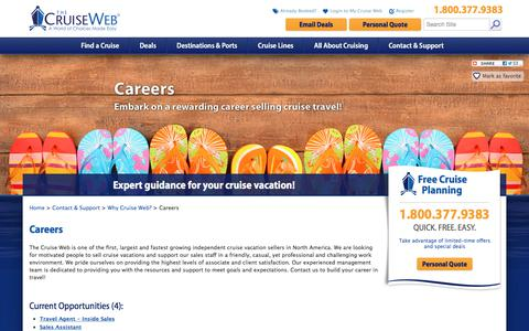 Screenshot of Jobs Page cruiseweb.com - Careers at The Cruise Web: Employment Opportunities with The Cruise Web | The Cruise Web - captured Oct. 14, 2017