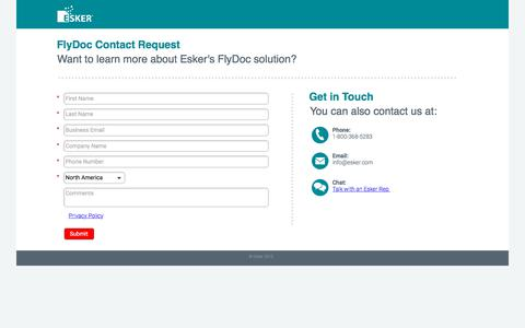 Screenshot of Landing Page esker.com - FlyDoc Contact Request | Esker - captured July 20, 2018