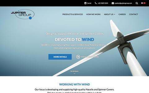 Screenshot of Home Page jupitergroup.com - Nacelle & Spinner Covers - Jupiter Group - Devoted to Wind - captured Aug. 7, 2016
