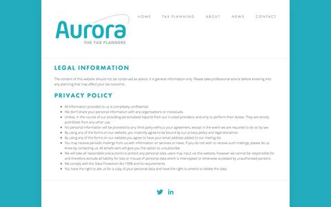 Screenshot of Terms Page aurorataxplanners.co.uk - Terms & Conditions — Aurora Tax Planners - captured Sept. 30, 2014
