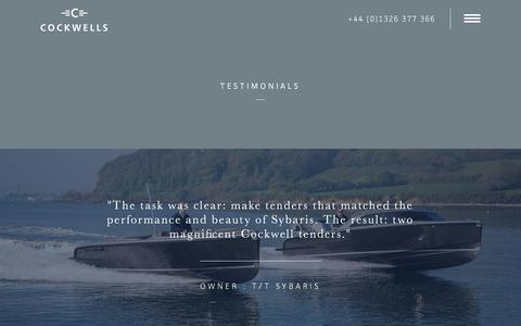 Screenshot of Testimonials Page cockwells.co.uk - Cockwells Yachts | Testimonials | Superyacht Tenders | Boat Builders UK - captured Jan. 29, 2017