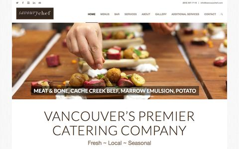 Screenshot of Home Page savourychef.com - Vancouver Catering & Events - Savoury Chef Foods - captured Oct. 5, 2017