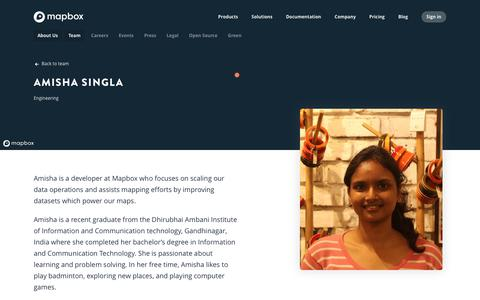 Screenshot of Team Page mapbox.com - Amisha Singla   Mapbox - captured Feb. 19, 2019