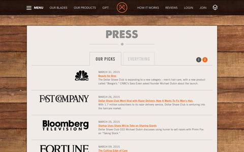 Screenshot of Press Page dollarshaveclub.com - News & Press | Dollar Shave Club - captured Dec. 5, 2015