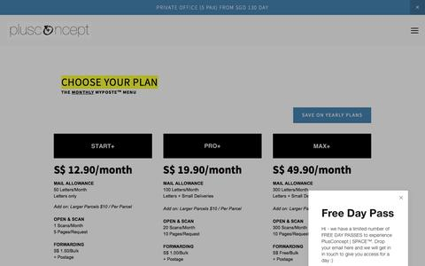Screenshot of Pricing Page plusconcept.space - MyPoste Pricing - captured July 10, 2018