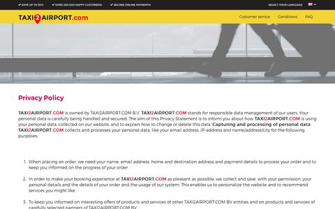 Screenshot of Privacy Page taxi2airport.com - Privacy Policy - Taxi2airport.com - captured Aug. 19, 2016