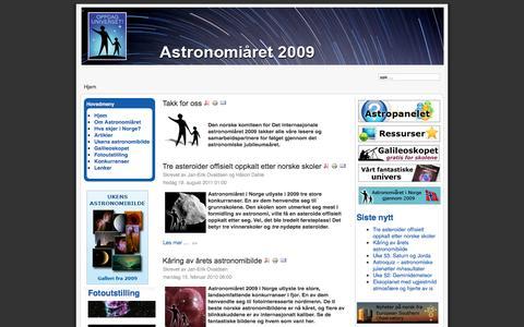 Screenshot of Home Page astronomi2009.no - Astronomiåret 2009 - captured Sept. 22, 2015