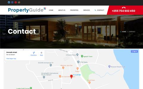 Screenshot of Contact Page propertyguide.co.tz - Contact – Property Guide - captured July 24, 2018