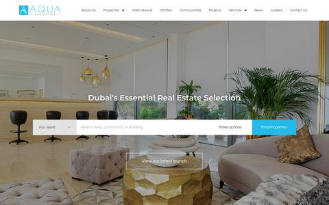Screenshot of Home Page aquaproperties.com - Home - Aqua Properties - captured Aug. 18, 2019