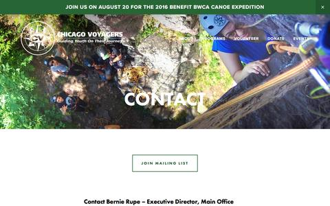 Screenshot of Contact Page chicagovoyagers.org - Contact — Chicago Voyagers - captured July 13, 2016