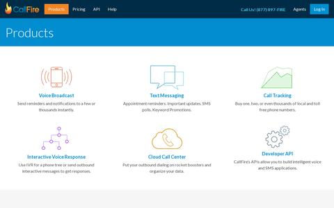 Screenshot of Products Page callfire.com - Telephony & Mobile Marketing Products by CallFire - captured July 18, 2014