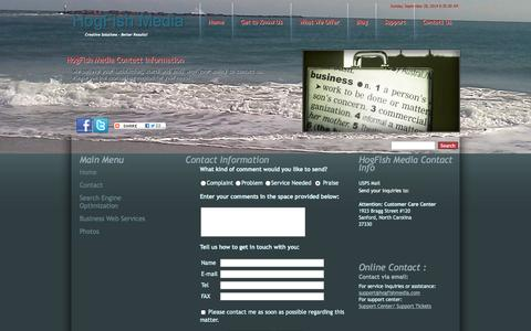 Screenshot of Contact Page Maps & Directions Page hogfishmedia.com - Contact Us - captured Sept. 30, 2014
