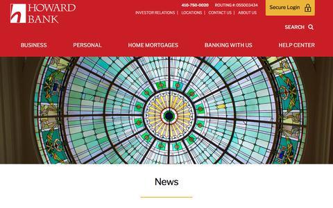 Screenshot of Press Page howardbank.com - News | Howard Bank - captured July 23, 2018