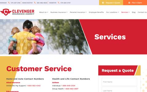 Screenshot of Services Page clevengerins.com - Services | Clevenger Insurance - captured Sept. 28, 2018