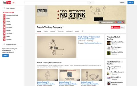 Screenshot of YouTube Page youtube.com - Duluth Trading Company  - YouTube - captured Oct. 23, 2014