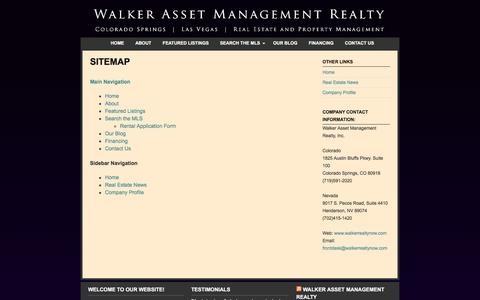 Screenshot of Site Map Page walkerrealtynow.com - Sitemap  | Walker Asset Management Realty - captured Feb. 17, 2016