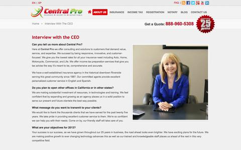 Screenshot of About Page centralproinsurance.com - Central Pro Insurance » Interview with the CEO - captured Sept. 29, 2014
