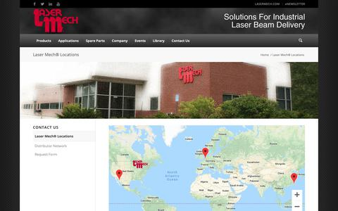 Screenshot of Contact Page Locations Page lasermech.com - Laser Mech® Locations - Laser Mechanisms, Inc. - captured Sept. 27, 2018