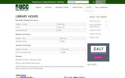 Screenshot of Hours Page umpqua.edu - Library Hours - Umpqua Community College - captured May 14, 2016