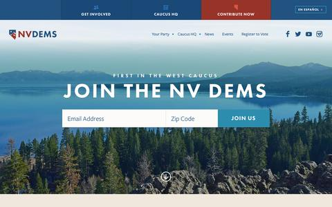 Screenshot of Home Page nvdems.com - Nevada State Democratic Party - captured Feb. 14, 2016